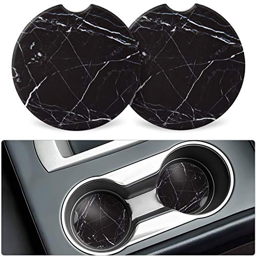 Absorbent Car Coasters with Finger Notch for Easy Removal, 2PCS Ceramic Car Cup Holders Coaster with Cork Back for Drinks , Great Auto Accessories Interior for Women and Men As Car Decor… (Black)