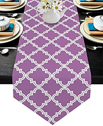 VJRQM Camino de mesa de Pascua, diseño geométrico de Marruecos, blanco y morado, camino de mesa de arpillera, bufandas para cenas, fiestas de vacaciones, decoración de cocina, 33 x 177 cm