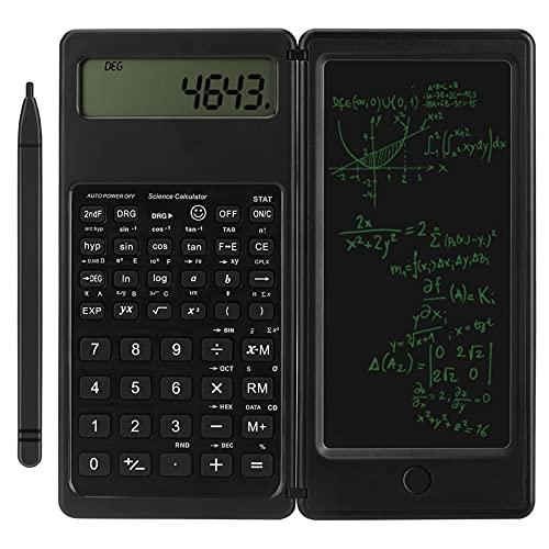 Calcolatrice zootop Calcolatrice scientifica ultrasottile con lavagna cancellabile LCD a 10 cifre Matematica fisica geometria calcolatrice per calcoli in ufficio, scuola superiore e università (nero)