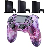 QLOVE para PS4 Controlador Bluetooth vibración Gamepad para Playstation 4 Mando inalámbrico para PS3 PS4 Slim/PS4 Pro Consola de Juegos,Purple Starry Sky