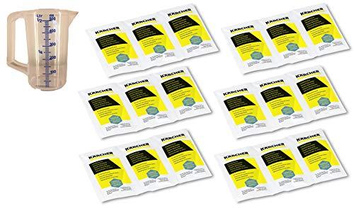 KÄRCHER 18x 17g Entkalkerpulver für Dampfreiniger, Wasserkocher und Kaffeemaschinen - Entkalkersticks in Pulverform 6.295-206.0 6.295-047.0 2x6.295-987.0 inkl. Messbecher 0,5l (18 x 17g Päckchen)