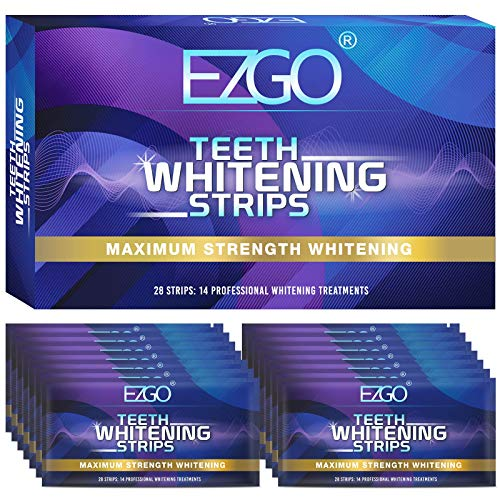 EZGO Teeth Whitening Strips, 28 Non-Sensitive White Strips Teeth Whitening Kit, 14 Sets Fast-Result Teeth Whitener for Tooth Whitening , Helps to Remove Smoking, Coffee, Wine Stains, Gentle and Safe