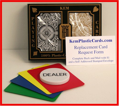 KEM BG Arrow Bridge Size Regular Index 100% Plastic Playing Cards with Free Dealer Button, 4 Free Cut Cards and Replacement Request Form