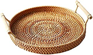 TOOGOO Rattan Storage Tray, Round Basket with Handle, Hand-Woven, Rattan Tray Wicker Basket Bread Fruit Food Breakfast Dis...