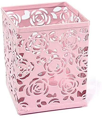 hwljxn Hohl Rose Blume Metall Stift Halter Organizer Büroschreibtisch Container Fall