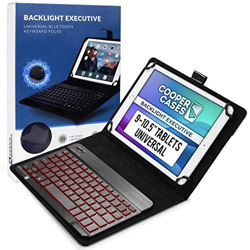 9-10.1 Zoll Tablet Hülle mit Tastatur, Cooper Backlight Executive 2-in-1 kabellose Bluetooth-Tastatur mit LED-Hintergrundbeleuchtung, Leder, Reiseetui, Mappe, Standfuß, 7 Farben (Schwarz)