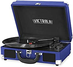 Victrola Vintage 3-Speed Bluetooth Portable Suitcase Record Player with Built-in Speakers | Upgraded Turntable Audio Sound| Includes Extra Stylus | Cobalt Blue