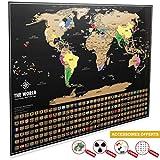 Carte du Monde à Gratter XXL [ Edition Premium 2019 ] – Carte du Monde Murale...