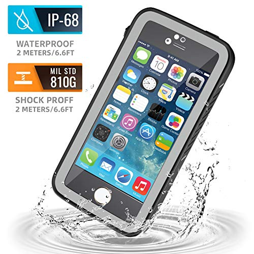 meritcase iPhone 5S Waterproof Case, IP68 iPhone SE/5S/5 Waterproof Shockproof Dirtproof Snowproof Screen Protector Cover for Snow Skiing Swimming (Black)