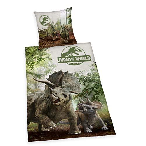Herding Jurassic World Set di Biancheria da Letto, Cotton, Marrone/Verde, 70 x 90 cm, 140 x 200 cm
