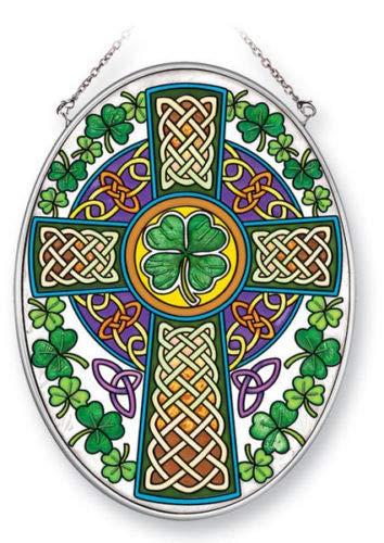 Stained Glass Suncatcher 5.5' X 7' Celtic Knot Cross Irish