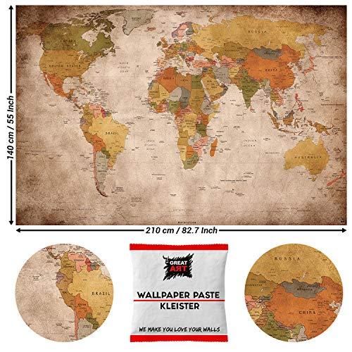 Great Art, vintage wereldkaart, fotobehang, vintage 210 x 140 cm - 5 Teile + Kleister Retro Weltkarte
