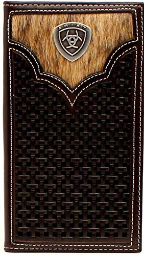 Ariat Mens Brown Basketweave Calf Hair Rodeo Wallet