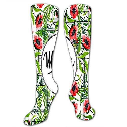 NGMADOIAN Calcetines hasta la rodilla para mujeres, hombres, flores de loto florales de moda y hojas verdes en pocilga