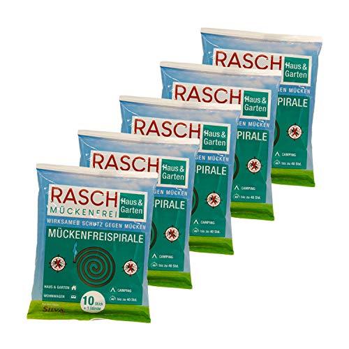 Rasch Lot de 5 x 10 spirales anti-moustiques - Contre les moustiques en extérieur (jusqu'à 200 heures).