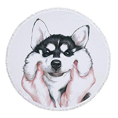 Sticker Superb Série Mignonne Serviette de Plage Grand Style Animal 60 Pouces Rond Tapis de Yoga Couverture de Plage Nappe de Pique-Nique pour Les Filles Femme et Homme (Husky 1)