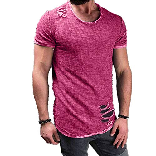 Fansu Hombres Casual Manga Corta Camiseta Verano Cuello Redondo Delgado Llano Camisas...