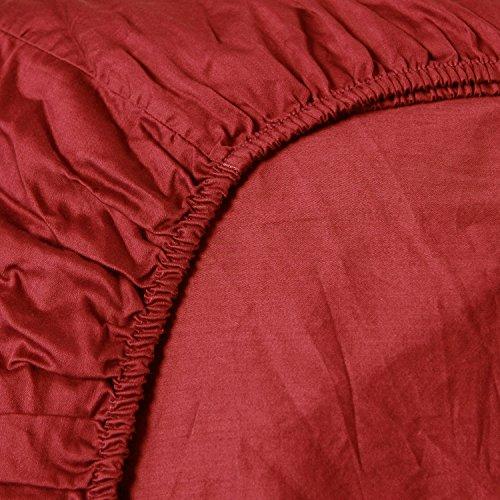 Heckett Lane Uni Satijn Hoeslaken 160x200+35 cm - Aurora Red