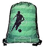 HECKBO Jungen Mädchen Kinder Turnbeutel - Fussball Soccer Football Motiv - waschmaschinenfest - 40x32cm – für Kindergarten, Schule, Sport - Rucksack, Schuhbeutel, Tasche, Sporttasche,...