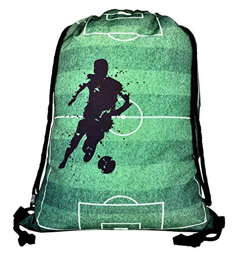 HECKBO® Jungen Mädchen Kinder Turnbeutel - Fussball Soccer Football Motiv - waschmaschinenfest - 40x32cm – für Kindergarten, Schule, Sport - Rucksack, Schuhbeutel, Tasche, Sporttasche, Fussballtasche