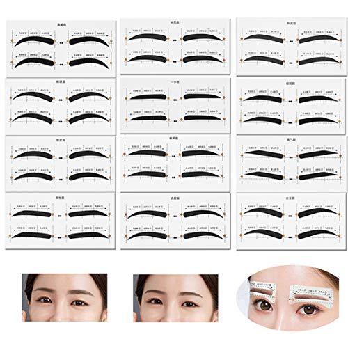 Eyebrow Stencil 12 eyebrow shapes 48 Pairs Reusable Eyebrow Ruler Sticker & Eyebrow Template for Women Girls Eyebrows Grooming Stencil
