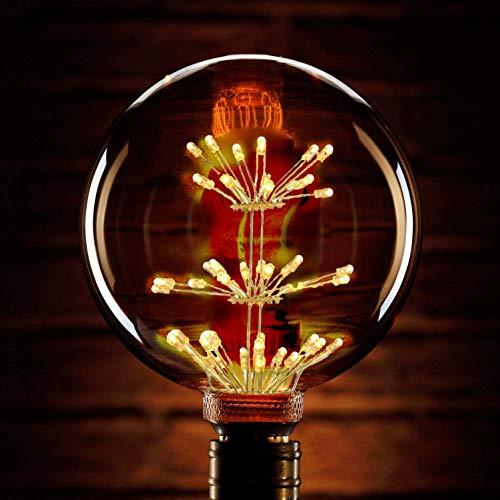 Vintage LED Edison Glühlampe E27 Dimmbar Feuerwerksoptik Glühbirne 2200K 3W warmeweiß, antike Retro Fadenbirne für Stange, Schlafzimmer, Hochzeit, Weihnachten usw. (G80)