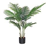 Fopamtri Artificial Areca Palm Plant 110cm Fake Palm 10 Plantas Decorativas Modernas para Interiores y Exteriores en macetas Oficina en casa Regalo de inauguración de la casa