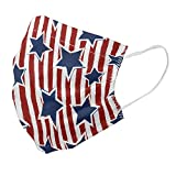 Lunarable Star Face Mask Set of 10, Stars on Stripes USA Americana Theme Independence National Celebration Party Print, Double Layered Super Soft Reusable Dust Cover for Face, Standard, Navy Blue Red