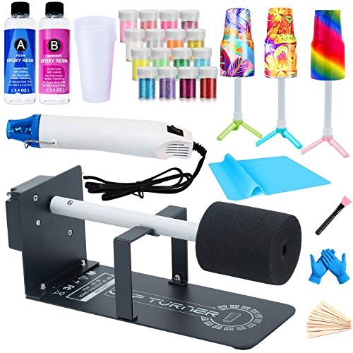 Cup Turner for Crafts Tumbler,Epoxy Glitter Tumbler Full Kits,DIY Cuptisserie Turner,Cup Spinner Machine Kit with Heat Gun Set for Crafts Epoxy Tumbler