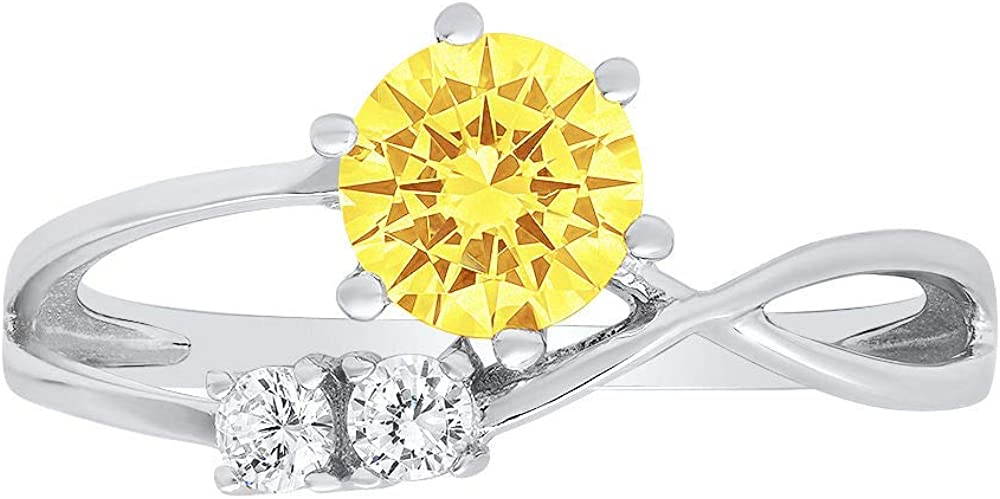 0.79ct Round Cut 3 stone love Solitaire Canary Yellow Ideal VVS1 Simulated Diamond CZ Engagement Promise Statement Anniversary Bridal Wedding with accent Ring Solid 14k White Gold