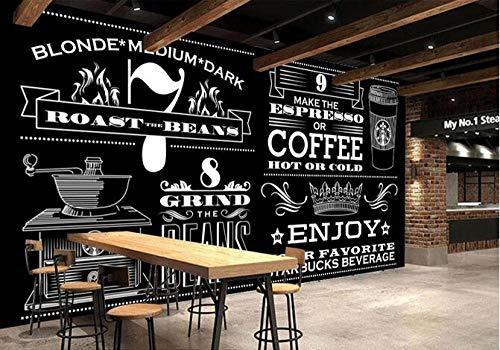 Muursticker muurschildering met de hand beschilderd zwart en wit koffie winkel poster café dessert winkel ijs winkel pizza winkel bakkerij restaurant foto behang 430cmx300cm(169.3x118.1inch)