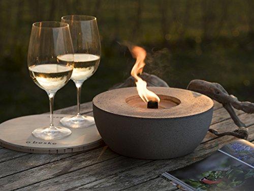 Beske-Betonfeuer mit 'Dauerdocht' | Durchmesser 24cm 'breiter Rand' | Wiederbefüllbare Gartenfackel | 'Unendliche' Brenndauer durch Recycling von Kerzenwachs | Tischfeuer Fackel Kerze Outdoor