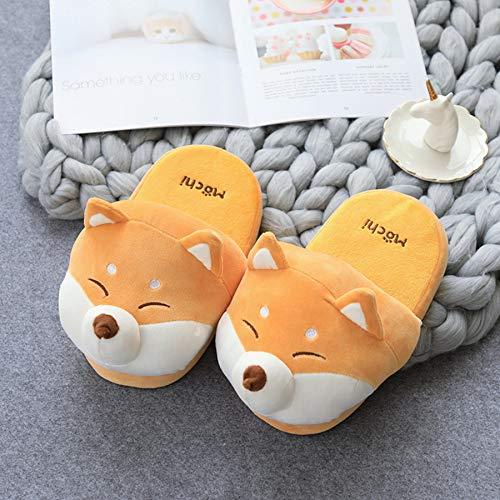 Zapatillas de felpa para hombre, toboganes de animales divertidos para el hogar zapatillas perro dibujos animados suaves par toboganes interiores zapatos cálidos algodón zapatos antideslizantes 27 cm