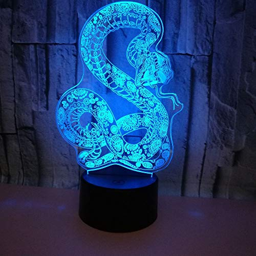 BFMBCHDJ Neues Nachtlicht der Schlangen-3D bunte Note 3D führte Sichtlicht-Innendekoration 3D kleine Tischlampe A2 Weiße Sprungunterseite