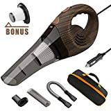 Car Vacuums, ANTEQI Portable Vacuum Cleaner High Power DC 12V Dry Handheld Vac with 16.4 Foot Long Cord & HEPA Filter, Storage Bag for Auto & Home (Wood Grain)