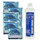 Loreal Professional Quick Blue Extra Strength Bleach 1oz (Pack of 6) with Oreor Creme Developer 20 Volume 16oz Bundle