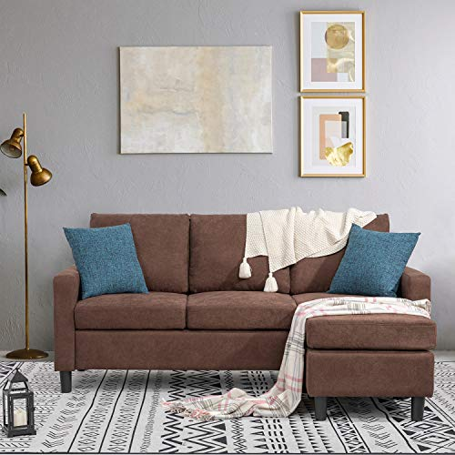 Shintenchi Convertible Sectional Sofa Couch, Modern Linen Fabric L-Shaped Couch 3-Seat Sofa Sectional with Reversible Chaise for Small Living Room, Apartment and Small Space,(Chocolate)