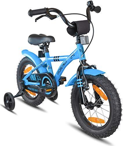 Prometheus Kinderfahrrad 14 Zoll Jungen Mädchen Blau Schwarz ab 4 Jahre mit Rücktritt Stützräder - 14zoll BMX Modell 2020