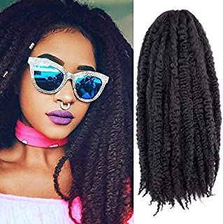 3 Packs Afro Marley Braid Hair Extensions, Kinky Curly Bulk Twist Crochet Braids for Girl Women (18