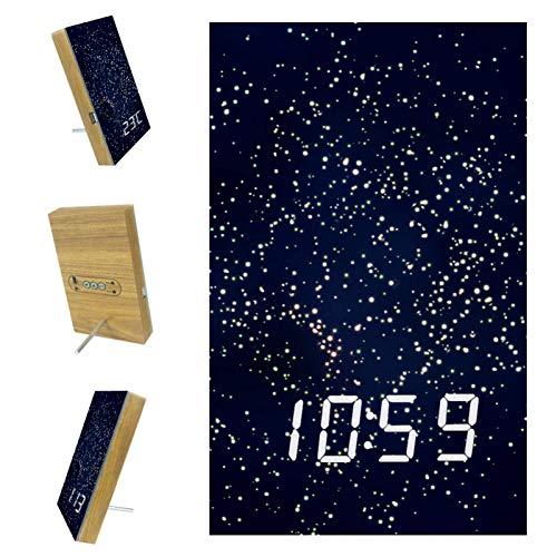 EZIOLY Abstracto Hermosos Brillantes Reloj Despertador Digital Pantalla Tiempo Temperatura Fecha LED Resina de Madera USB/Batería Control de Sonido Suministro Ahorro de Energía para Dormitorio Oficina