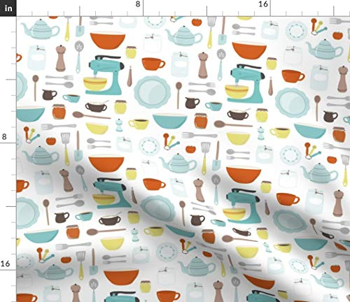 Spoonflower Fabric - Vintage Kitchen Cooking Baking Retro Mid Century Printed on Petal Signature Cotton Fabric by The Yard - Sewing Quilting Apparel Crafts Decor