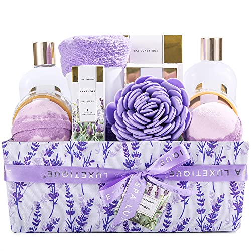 Spa Gifts for Women, Spa Luxetique Spa Gift Basket, 12pcs Lavender Bath Set with Massage oil, Bath Salts, Body Scrub, Relaxing Bath Sets for Women Gifts, Mothers Day Gifts for Mom