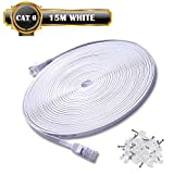 Cat6 Cable de red 15m Gigabit Ethernet FTP - Lan Gigabit Cable de parcheo RJ45 Cat6 Cable de conexión a red (1000 Mbit/s 1 Gigabit Twisted Pair FTP sin Halógeno 100% Cobre) - 15M Blanco Clips Gratis