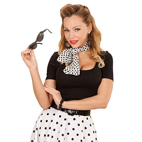 Amakando mit Sonnenbrille, Ohrringe und Halstuch Rockabilly Kostüm Set Rock n Roll Outfit 50er 60er Jahre Bekleidung Damen Kleidung Zubehör Sixties Damenkostüm Accessoire