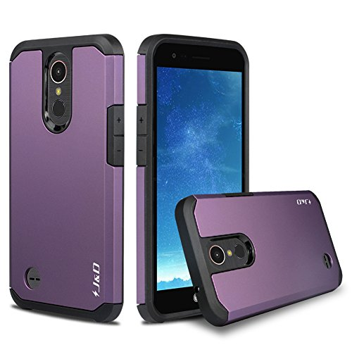 J&D Case Compatible for LG K20 V/LG K20 Plus/LG Harmony/LG K10 2017 / LG V5 / LG Grace Case, Heavy Duty Dual Layer Hybrid Shockproof Protective Rugged Bumper Case for LG K20 V Case, Purple