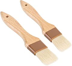Set of 2 Pastry Brushes, 1-Inch and 1 1/2 -Inch Width Pastry Brushes with Boar Bristles and Lacquered Hardwood Handles, Gr...