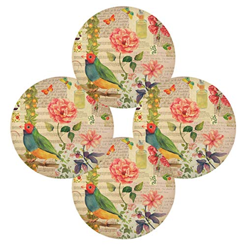 Hunihuni Runde Tischsets mit Tiermotiv, Vogel, Rose, rutschfest, hitzebeständig, für Küche, Esstisch, 1 Stück, Polyester, mehrfarbig, 15.4x15.4inx4