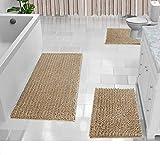 Yimobra 3 Piece Shaggy Chenille Bath Mat Sets, Extra Large Bathroom Mats 44.1x24 + Bathroom Rugs 31.5x19.8 + Toilet Mat 24.4x20.4, Soft Comfortable, Water Absorbent, Non-Slip, Machine Washable, Beige