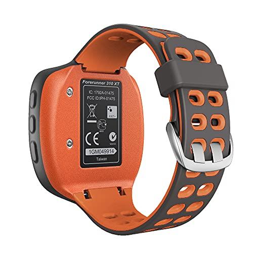 KINOEHOO Correas para relojes Compatible con Garmin Forerunner 310XT Pulseras de repuesto.Correas para relojesde silicona.(Gris claro + naranja)