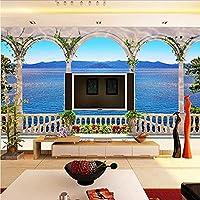 Djskhf カスタム壁壁画壁紙3Dウィンドウ海ビュー大きな壁画リビングルームソファテレビ背景わらパターン壁紙モダン 280X200Cm
